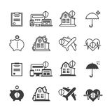 Life Insurance Protection Icons Pictogram Stock Vector