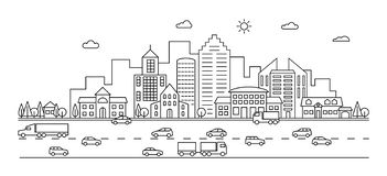 Line City Street. Outline Urban Scene With Buildings, Road