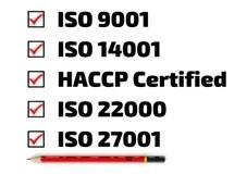 ISO 14001 9001 27001 22001 Certified Logo Stock Vector