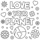 Coloring Planet Earth Sketched Doodle Stock Vector