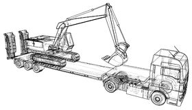 Low Bed Truck Trailer And Excavator. Abstract Drawing