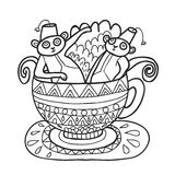 Peacock Coloring Page Stock Photos, Images, & Pictures