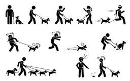 Stick figures with dog stock illustration. Illustration of