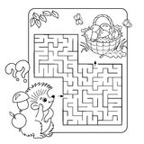 Maze Game And Coloring Page For Kids Stock Vector