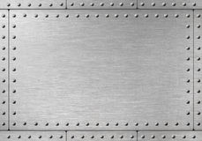 Black Metal Plate Or Armour Texture With Rivets Stock