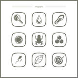 Science Research And Biology Pictogram Icons Set Stock
