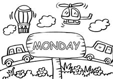 Monday Kids Stock Illustrations