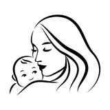Mother And Baby Stylized Vector Symbol Stock Vector