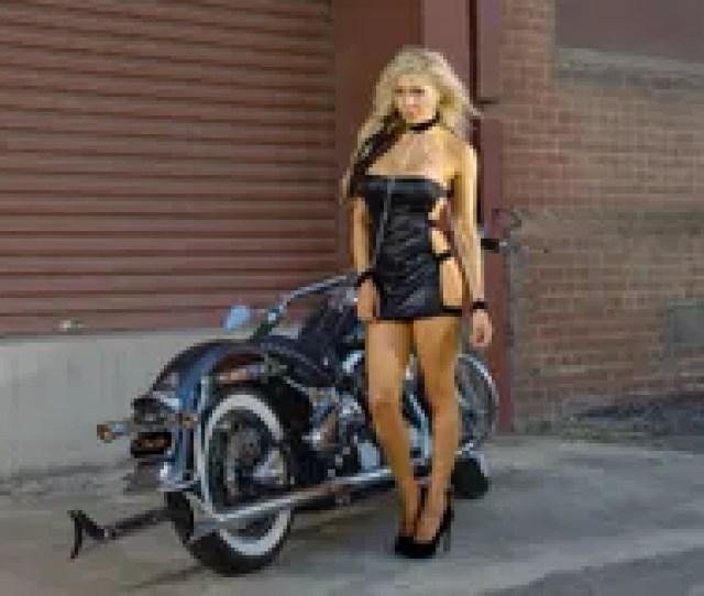 Woman Wearing A Helmet Motorcycle Biker Girl Stock Photo