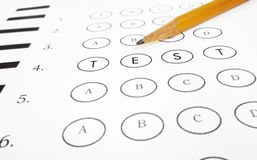 Multiple choice test stock photo. Image of numbered