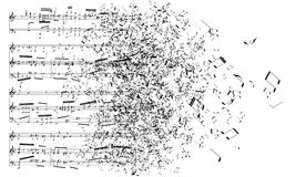 Violin with music notes stock image. Image of classical