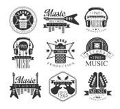 Vector Set Of Rock Festival Labels In Vintage Style. Rock