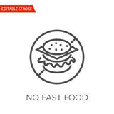 No Fast Food. Prohibition Sign. Vector Label. Stock Vector