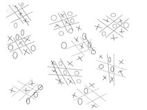 Hand-drawn Tic-tac-toe Game Stock Illustration