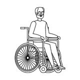 Old Man Cartoon Wheelchair Stock Illustrations