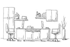 Office Meeting Room Interior Black White Graphic Art