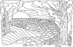 Zentangle del paesaggio illustrazione di stock