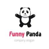 Panda Hugs Abstract Vector Emblem Or Logo Template. Funny