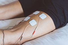 Electrodes Of Tens Device On Shoulder. Tens Therapy Stock Image - Image of sick. health: 36831075