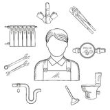 Plumber Sketch Icon With Hand Tools And Equipments Stock