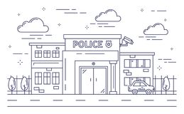 A police station building stock vector. Illustration of