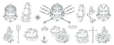 Poseidon Poseidon Disegnato A Mano Testa Di Nettuno