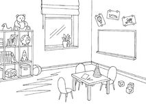 Empty preschool classroom stock illustration. Illustration