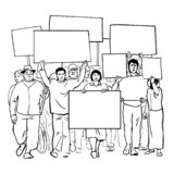 Line Art Illustration Of Crowd Protest With Blank Signs