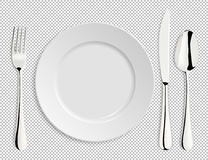 Vector. Dinner-plate, Spoon Fork And Knife Stock Vector