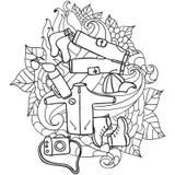 Hand Drawn Travel, Tourism Doodles Elements Vector