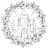 Coloring The Castle In Black And White Stock Illustration