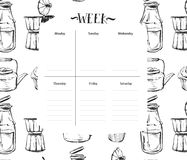 Weekly Planner Template. Organizer And Schedule With Notes