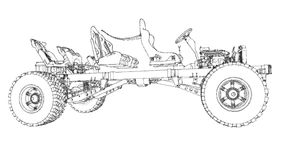Schematic Chassis Of A Large SUV With Four-wheel Drive