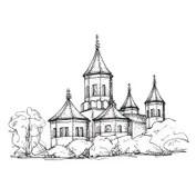 Schizzo Della Chiesa Illustrazione Disegnata A Mano Illustrazione Vettoriale  Illustrazione di