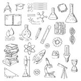 Physics, Chemistry And Astronomy Science Sketches Stock