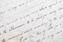 Handwriting From 18th Century With Flowers And Book Stock