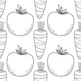 Seamless Tomato Background Black And White Stock Vector