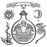 Alchemical symbols stock illustration. Illustration of