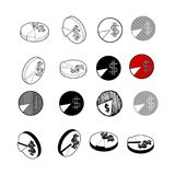 Set Of Circle Chart Diagram Graph Pie Hand Draw. Stock