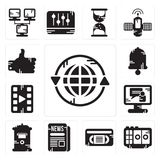 Newspaper icons set. stock vector. Illustration of