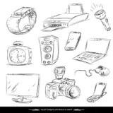 Hand Drawn, Sketch Computer Technology Gadgets Vector Set