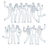 Happy Friends Jumping Together Stock Illustration