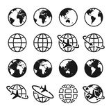 Set Of Planet Earth Icons With Different Continents