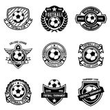 Winged soccer ball emblem. stock vector. Illustration of