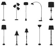 Sets of silhouette lamps stock vector. Illustration of