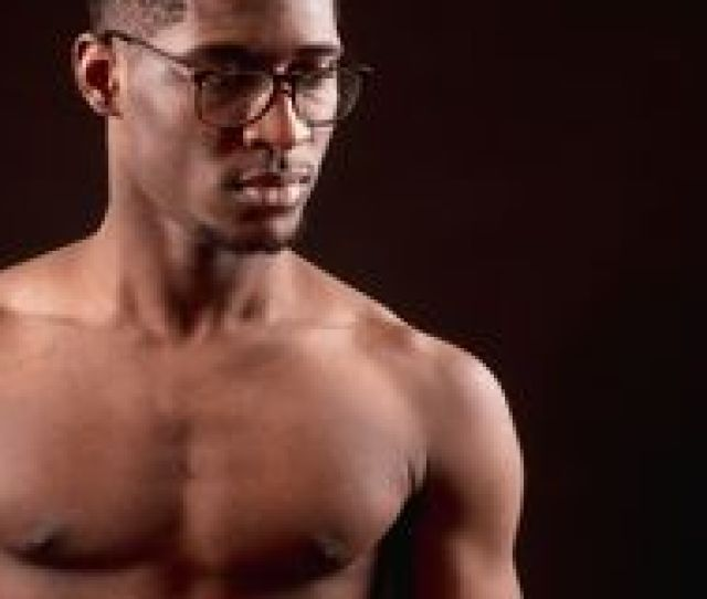 Force Of Mind Side View Close Up Cropped Portrait Of Strong Nacked Afro Male In Glasses Clever Sporsman