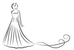 Silhueta Dos Noivos, Esboço Dos Recém-casados, Desenho Da