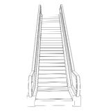 Sketch escalator. Wire frame render Royalty Free Stock Photo