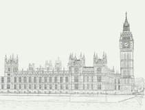 Westminster Abbey Sketch stock illustration. Illustration