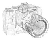 SLR camera. Wire frame stock illustration. Illustration of